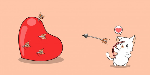 Entzückende bogenschützenkatze schießt ein großes herz am valentinstag