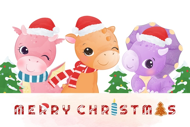 Entzückende dinosaurier wünschen ihnen frohe weihnachten