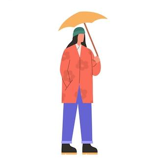 Entzückende frau in der warmen kleidung, die mit geöffnetem regenschirm steht. flache illustration