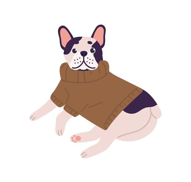 Entzückende freundliche französische bulldogge-rasse mit strickpullover, die isoliert auf weißem hintergrund liegt. nettes haustier in der flachen illustration des lustigen kleidungsvektors. karikaturhund, der sich im warmen pullover entspannt.