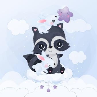 Entzückende freundschaft von waschbären und hasen in aquarellillustration