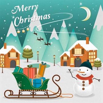 Entzückende frohe weihnachtslandschaft mit schneemann, der seine hand winkt
