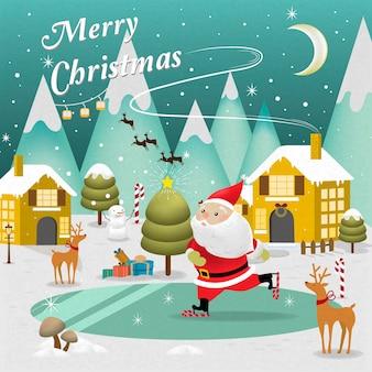 Entzückende frohe weihnachtslandschaft mit weihnachtsmann, der auf see skatet