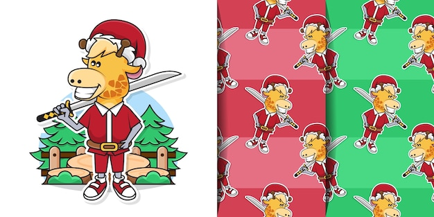 Entzückende giraffe, die weihnachtsmann-kostüm trägt, während katana-schwert mit dekorativem nahtlosem muster hält