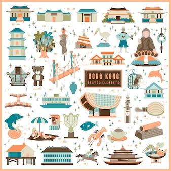 Entzückende hong kong reiseelemente-kollektion im flachen design