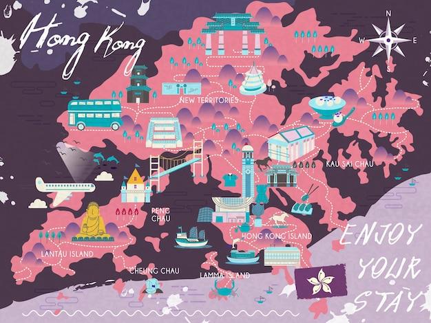Entzückende hongkong-reisekarte im flachen design