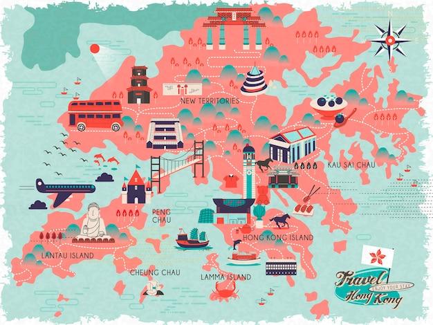 Entzückende hongkong-reisekarte im flachen stil