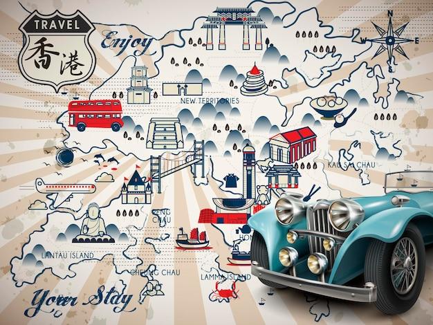 Entzückende hongkong-reisekarte mit auto - hongkong-reise im chinesischen wort oben links
