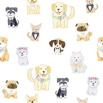 Entzückende hunde, die kränze nahtloses muster tragen.