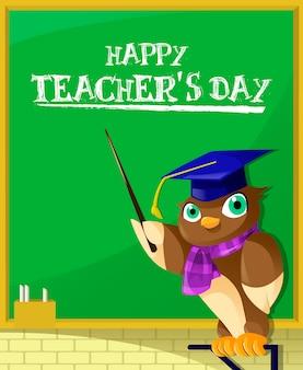 Entzückende illustration des eulenlehrerunterrichts