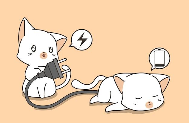 Entzückende katze hält stecker und sucht nach aufladung