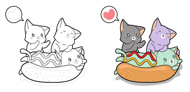 Entzückende katze in einer hotdog-karikatur-malvorlagen für kinder