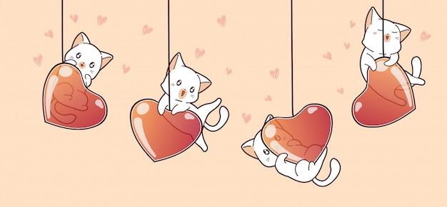 Entzückende katzen der fahne und herzballone am valentinstag