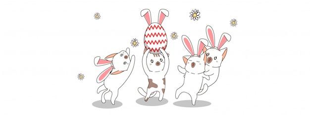 Entzückende katzen in der ostertagsillustration
