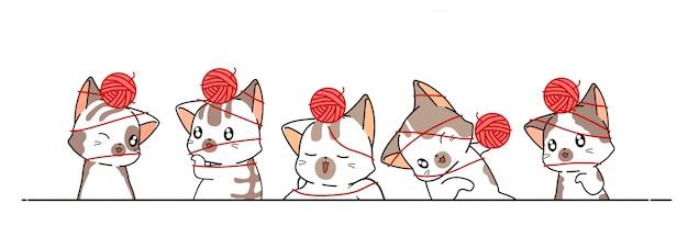 Entzückende katzen mit garn