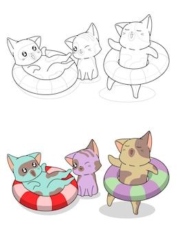 Entzückende katzen mit rettungsring-cartoon-malvorlage für kinder