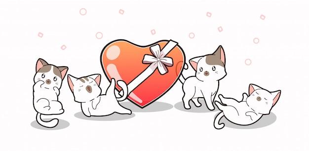 Entzückende katzen und geleeherz mit bogen
