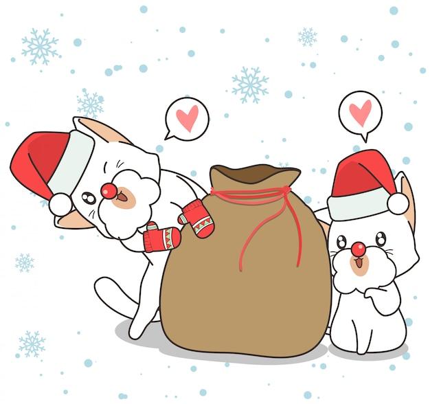 Entzückende katzencharaktere mit tasche am weihnachtstag