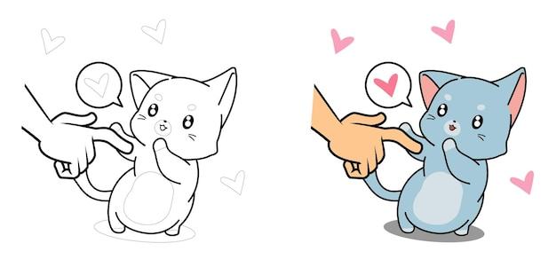 Entzückende katzenkarikaturmalvorlage für kinder