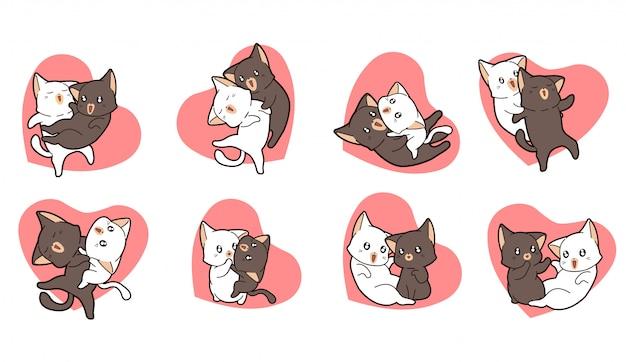 Entzückende katzenpaare mit rosa herzsatz