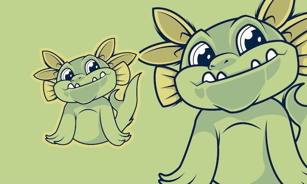 Entzückende kleine kleine monsterkarikatur-maskottchen-vektorillustration