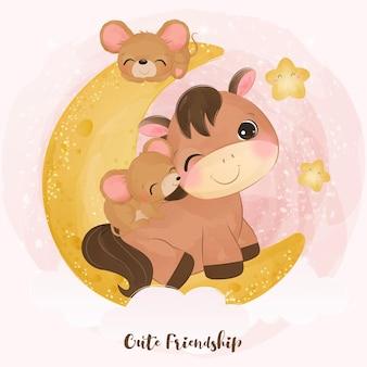 Entzückende kleine mäuse und ponyillustration gesetzt in aquarell