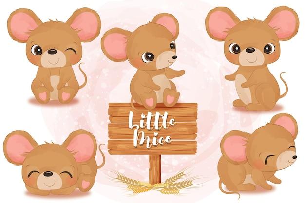 Entzückende kleine mäuseillustration gesetzt in aquarell