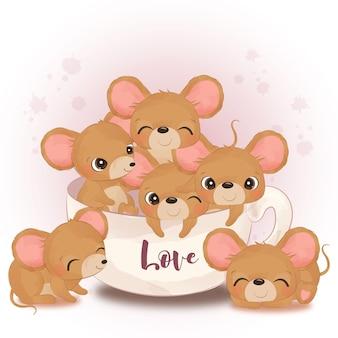 Entzückende kleine mäuseillustration im aquarell