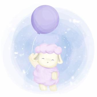 Entzückende kleine schafe mit ballon