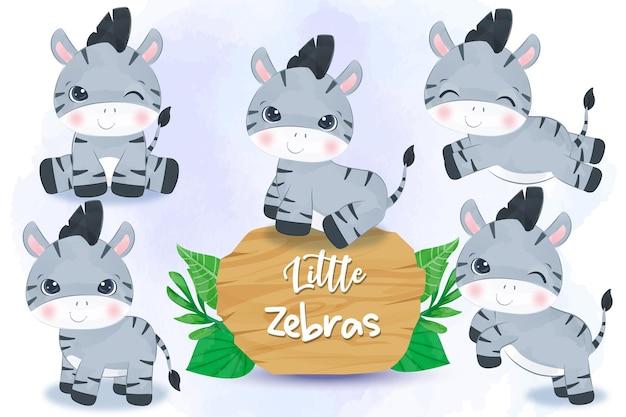 Entzückende kleine zebrasillustration gesetzt in aquarell