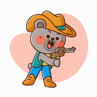 Entzückende maus, die cowboy-charakter-gekritzel-illustrations-asset spielt