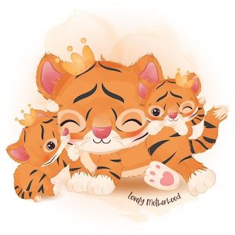 Entzückende mutter und baby-tiger in aquarellillustration