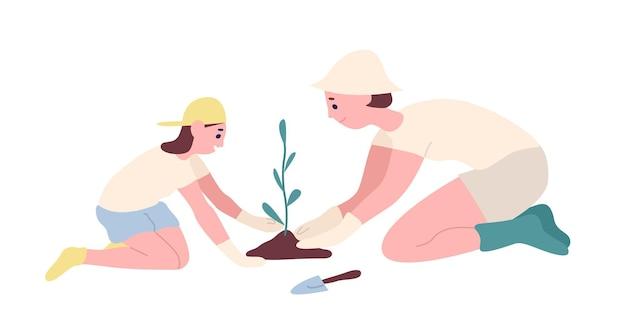 Entzückende mutter und tochter, die sämling oder baum im garten pflanzen