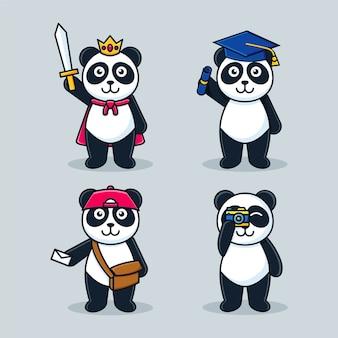 Entzückende panda cartoon maskottchen set vorlage