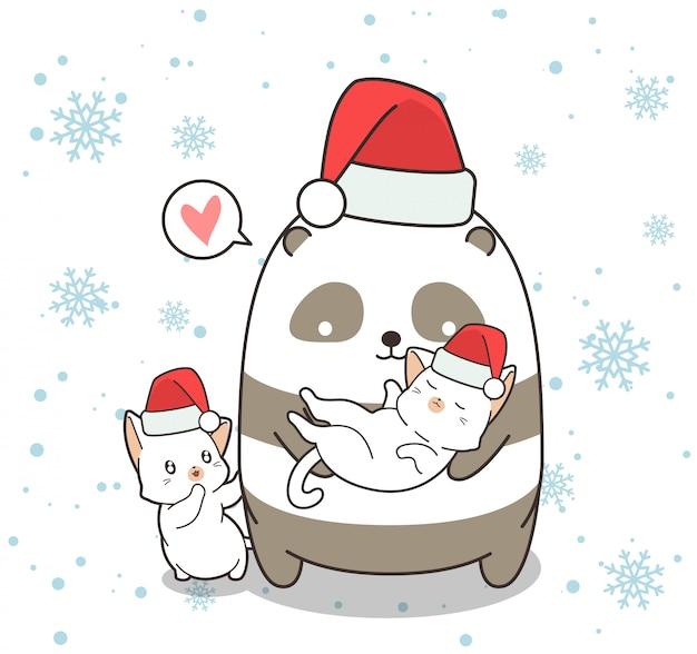 Entzückende panda- und katzencharaktere am weihnachtstag