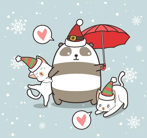 Entzückende panda- und katzencharaktere tragen weihnachtshut