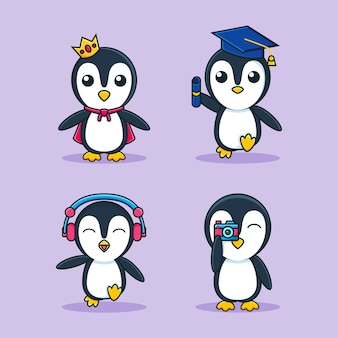 Entzückende pinguinkarikaturmaskottchen-satzschablone