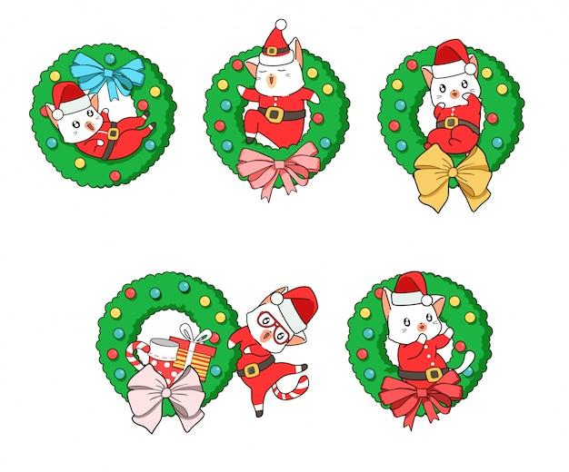 Entzückende sankt-katze mit einem weihnachtsblumenabzeichen