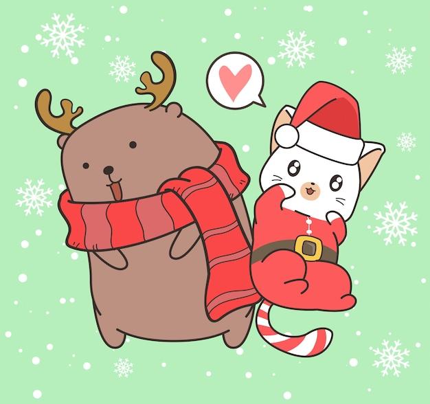 Entzückende sankt-katze und ren am weihnachtstag