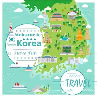Entzückende südkorea-reisekarte mit bunten attraktionen