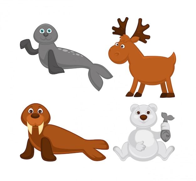 Entzückende tiere aus kalten ländern und dem nordpol