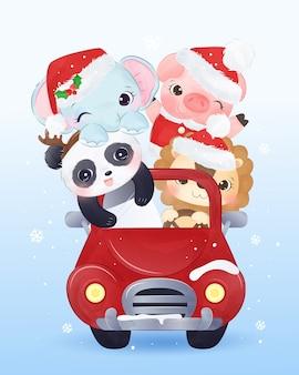 Entzückende tiere, die zusammen am weihnachtstag reiten.