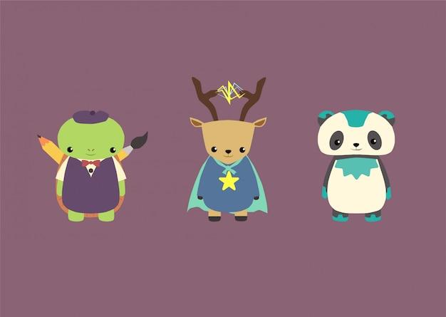 Entzückende tiermaskottchen-superhelden stellten bündel, panda, schildkröte, rotwild ein