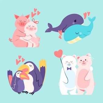 Entzückende valentinstag-tierpaarsammlung