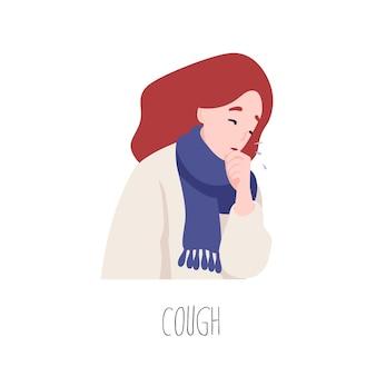 Entzückende weibliche figur, die hustet. symptom von grippe, gesundheitsproblem, virusinfektionskrankheit. kranke oder kranke junge frau lokalisiert auf weißem hintergrund. flache cartoon bunte vektor-illustration.