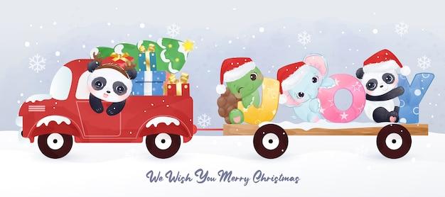 Entzückende weihnachtsgrußkarte mit tieren, die zusammen spielen