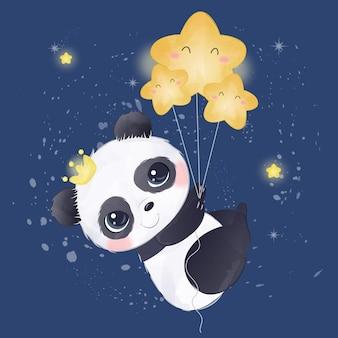 Entzückender babypanda, der mit den sternen fliegt