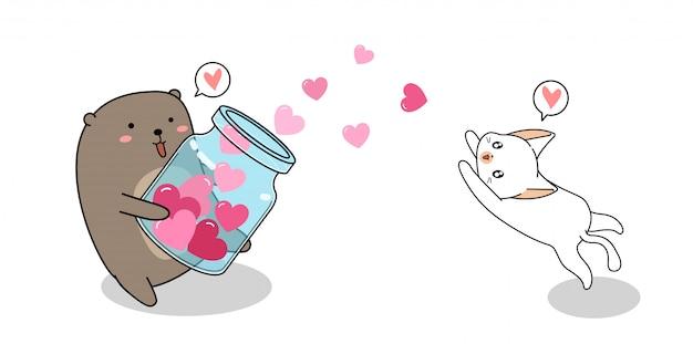 Entzückender bär breitet herzen zur babykatze aus