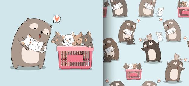 Entzückender bär der nahtlosen musterkarikatur mit reizenden katzen