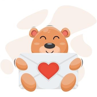 Entzückender bär mit umschlagliebes-karikaturvektor